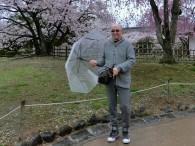 桜をバックに!